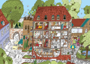 Grand Hotel Dogpest - Wimmelbild - Ransicks wimmelige Welten - Illustration und Grafikdesign Jonas Gallenkamp